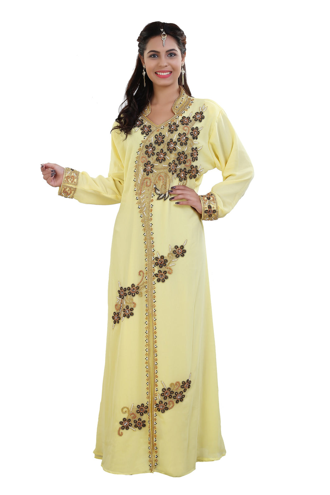 Traditional Algerian Kaftan Hand Embroidered Arabic Dress