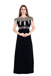 Traditional Dubai Fustan Hand Embroidered Designer Party Gown