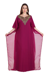 Detailed Crystal Beaded Jalabiya Ladies Cocktail Party Dress