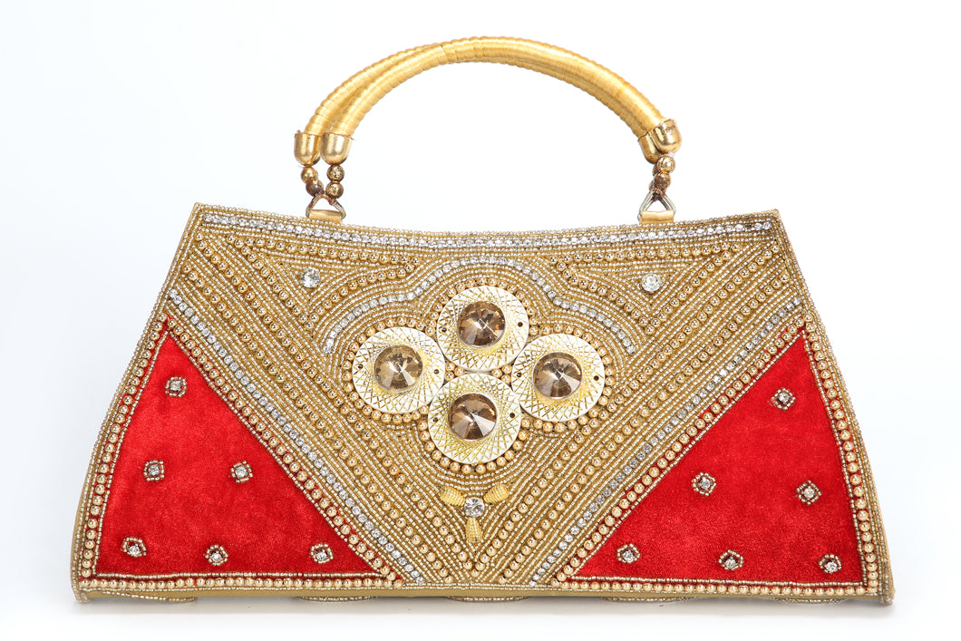 RHINESTONE BEADED LADIES HAND CLUTCH