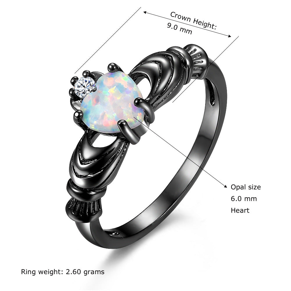 White-Opal Black Claddagh Ring
