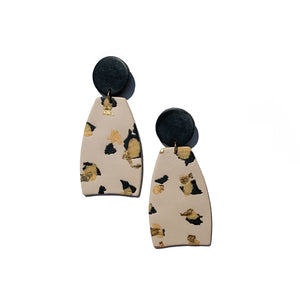 hand crafted leopard animal print clay statement earrings