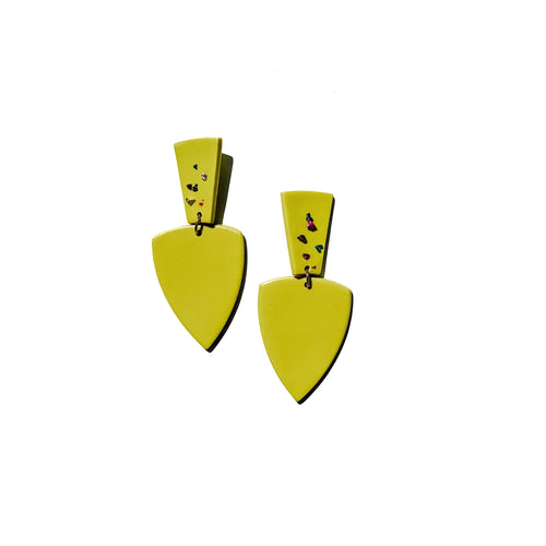 chartreuse colorful hand crafted earrings