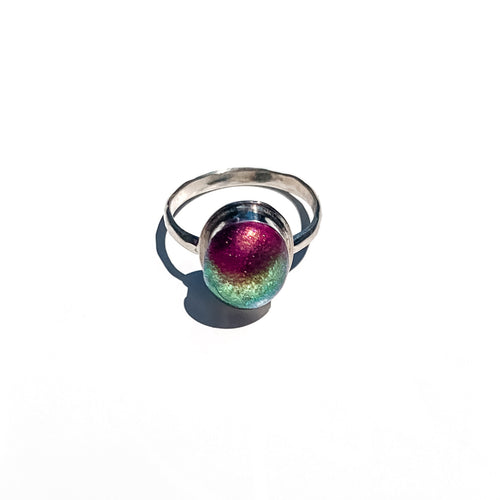 925 hammered sterling silver hand crafted ring colorful