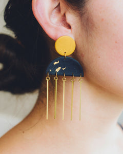 ochre black gold handmade dangles with brass accents fringe