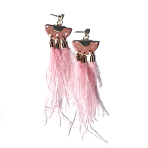 Blush hand crafted earrings with ostrich feathers