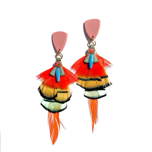 bright tropical hand crafted feather earrings