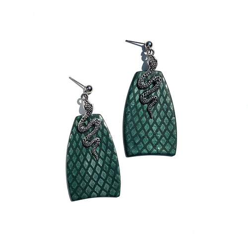 serpent snake hand crafted scale earrings