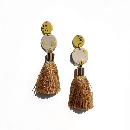 hand crafted yellow gold silk tassel dangles