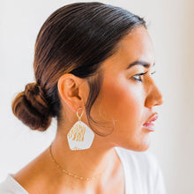 Load image into Gallery viewer, Hand crafted gold and white clay statement earrings
