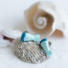 Load image into Gallery viewer, hand crafted mermaid tail clay earrings