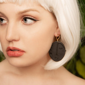 Hand crafted artisan clay face statement earrings