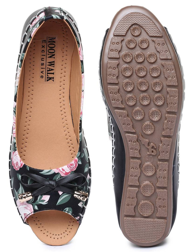 Women's Synthetic Printed Black Bellies