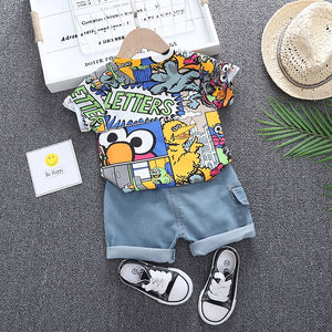 Baby cartoon T-shirt + jean shorts set