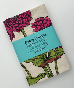 Zinnias Tea Towel