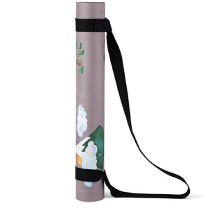 Nature themed kids yoga mat, rolled up.