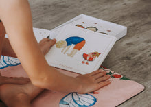 Load image into Gallery viewer, Yoga flash cards on kids yoga mat.