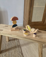 Load image into Gallery viewer, Wooden crafted leaves and blueberries stacking and balancing toy.