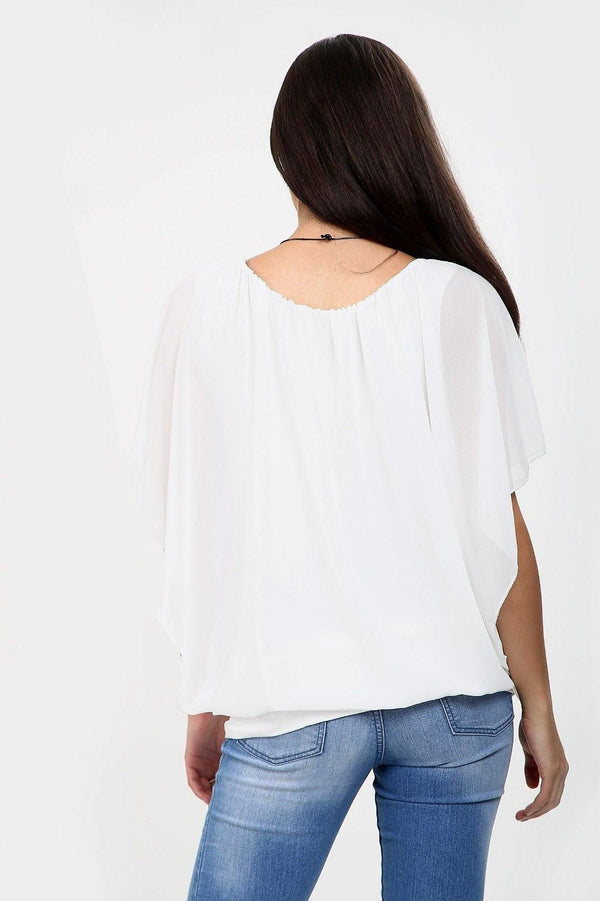 Sleeveless Chiffon Top With Necklace