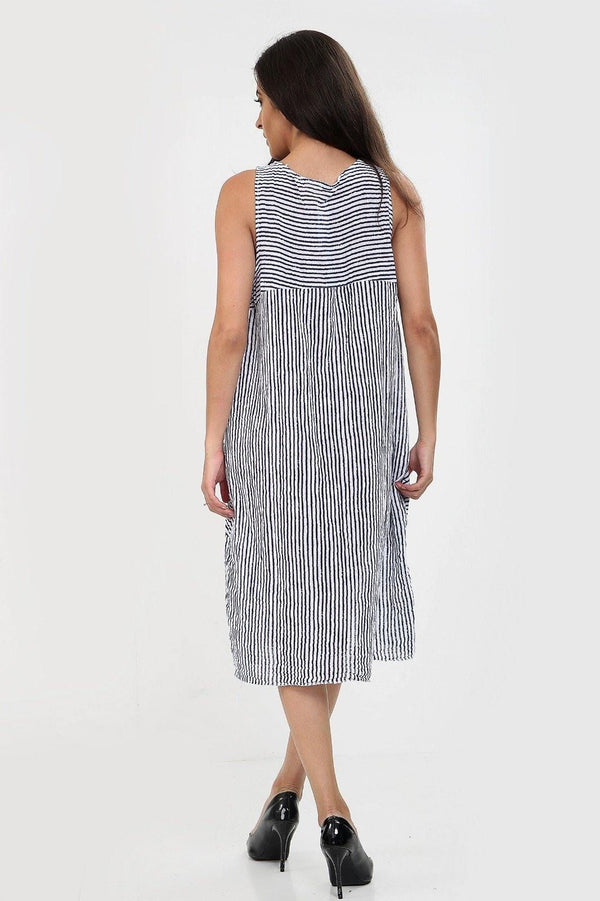 Sleeveless Two Pockets Stripe Dress