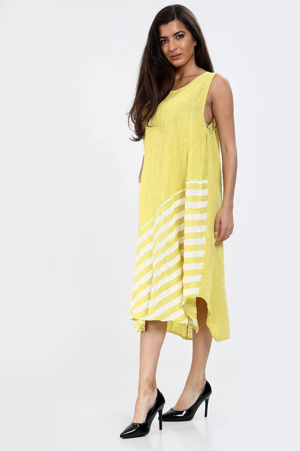 Sleeveless One Pocket Stripe Dress