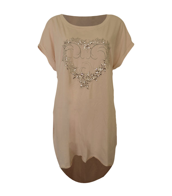Cotton Sequin Heart Side Pocket Tunic