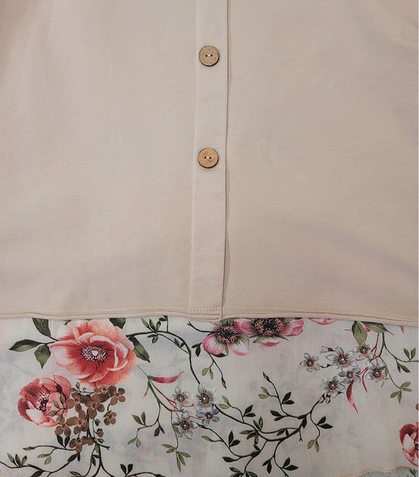 2 in 1 Printed Flower Cotton with Side Button