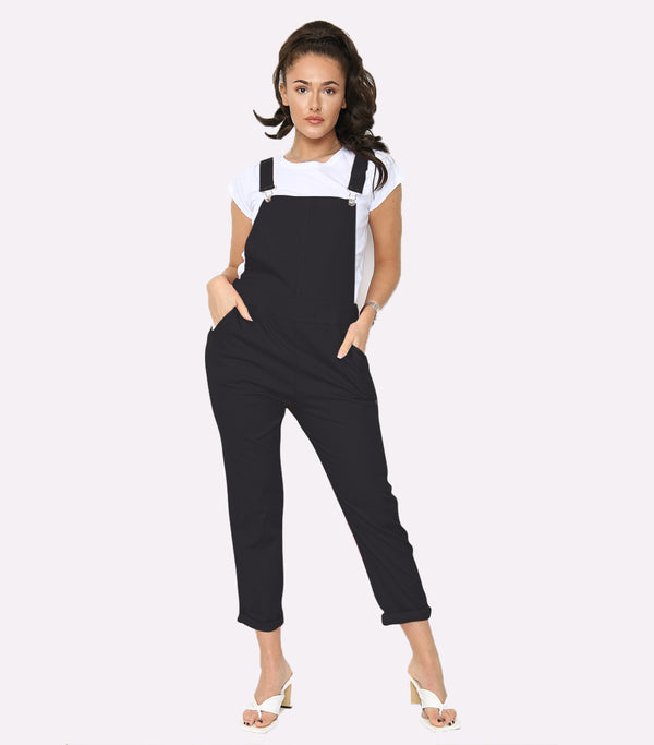 Solid Button Detail Dungarees With Cotton Tee
