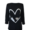 Long Sleeve Glitter Heart Back Print
