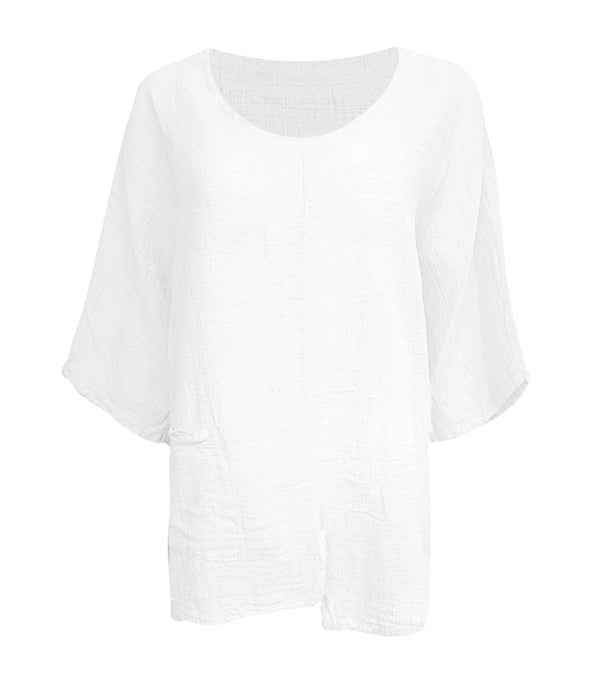 Linen 3/4 Sleeve Top with Pocket