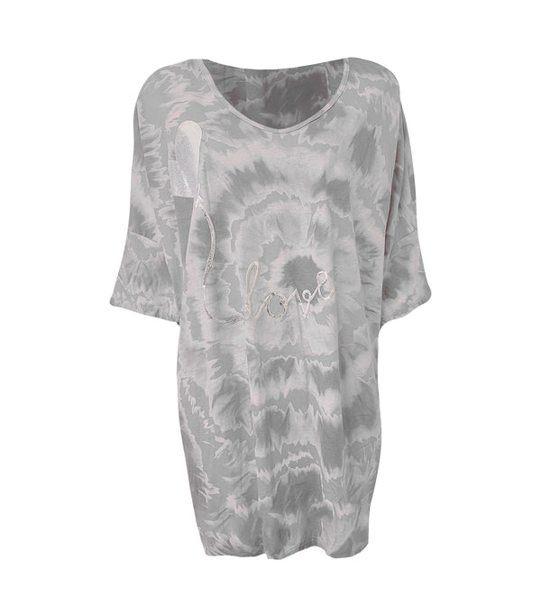Cotton Tie Dye Love Heart Print Dress T-shirt