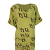 Cotton Linen D Print T-Shirt Dress Side Pocket