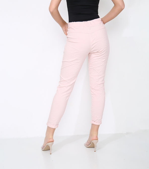 Cotton Stretch Knot Front Trousers