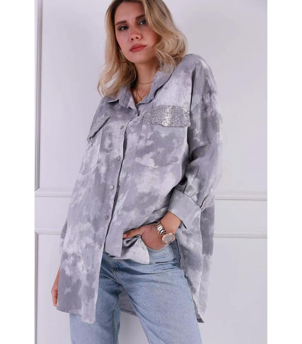 Linen Oversized Shirt With Sequin Pocket