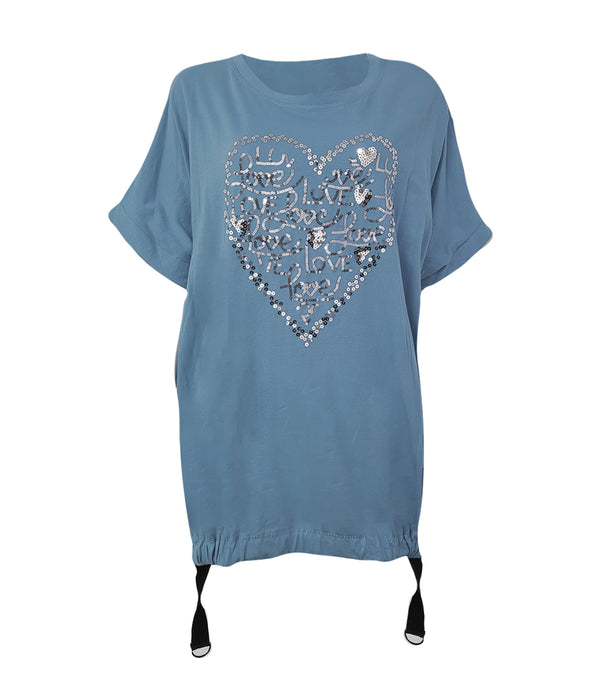 Love Heart Sequin Cotton T-shirt