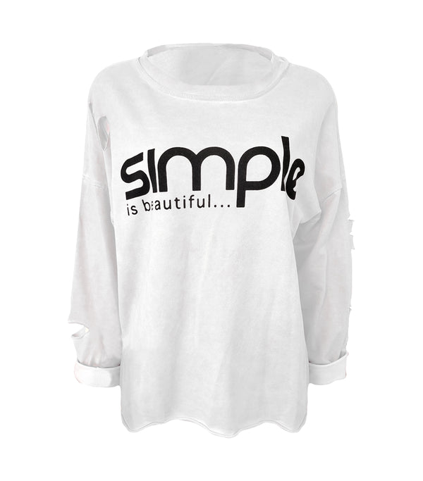 Long Sleeve Cotton Simple Slogan Top