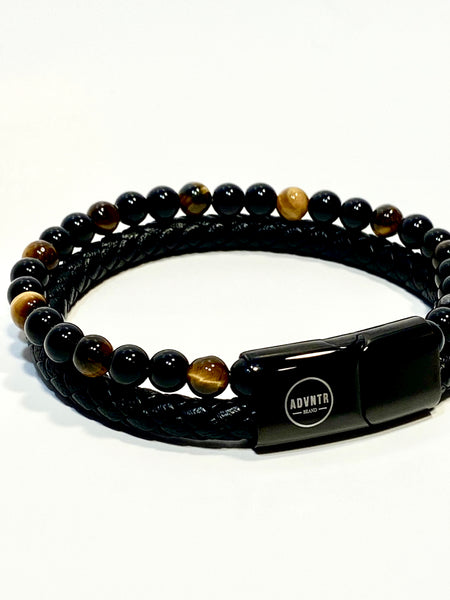 The Duo: Leather/Bead Tiger Eye