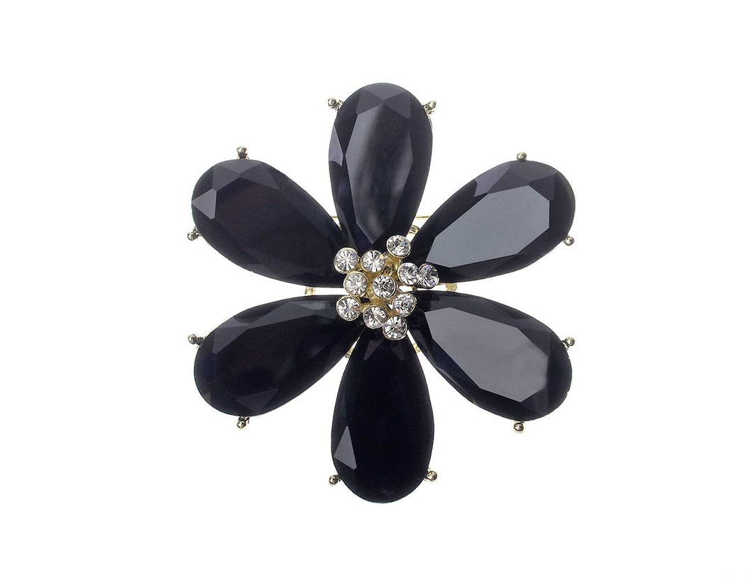Jet Black Glass Flower Brooch