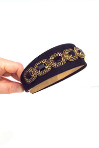 Black and Gold Jewelled Headband