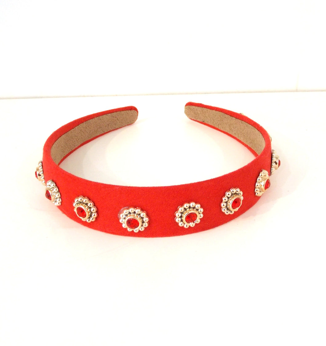 Red Faux Suede Jewelled Headband