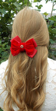 Load image into Gallery viewer, Red Velvet Bow Hair Clip