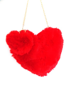 Red Faux Fur Heart Pom Pom Shoulder Bag