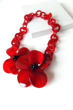 Load image into Gallery viewer, Red Floral Statement Necklace