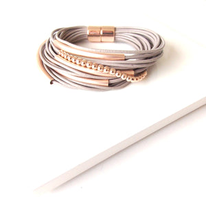 Taupe and Rose Gold Magnetic Bracelet