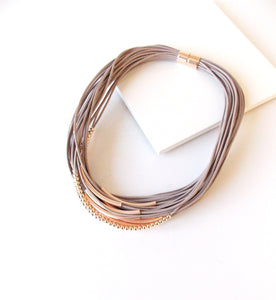 Taupe and Rose Gold Layered Magnetic Necklace