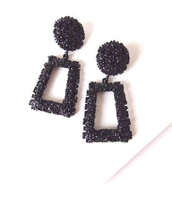 Load image into Gallery viewer, Black Textured Geometric  Statement Earrings