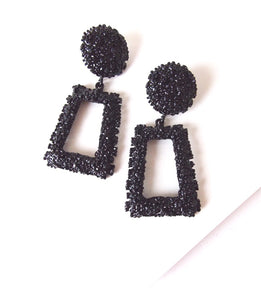 Black Textured Geometric  Statement Earrings