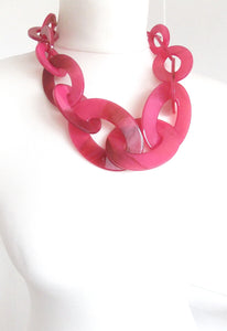 Chunky Pink Acrylic Chain Statement Necklace