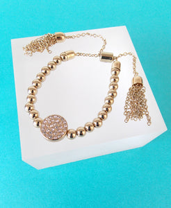 Gold and Crystal Tassel Stretch Bracelet
