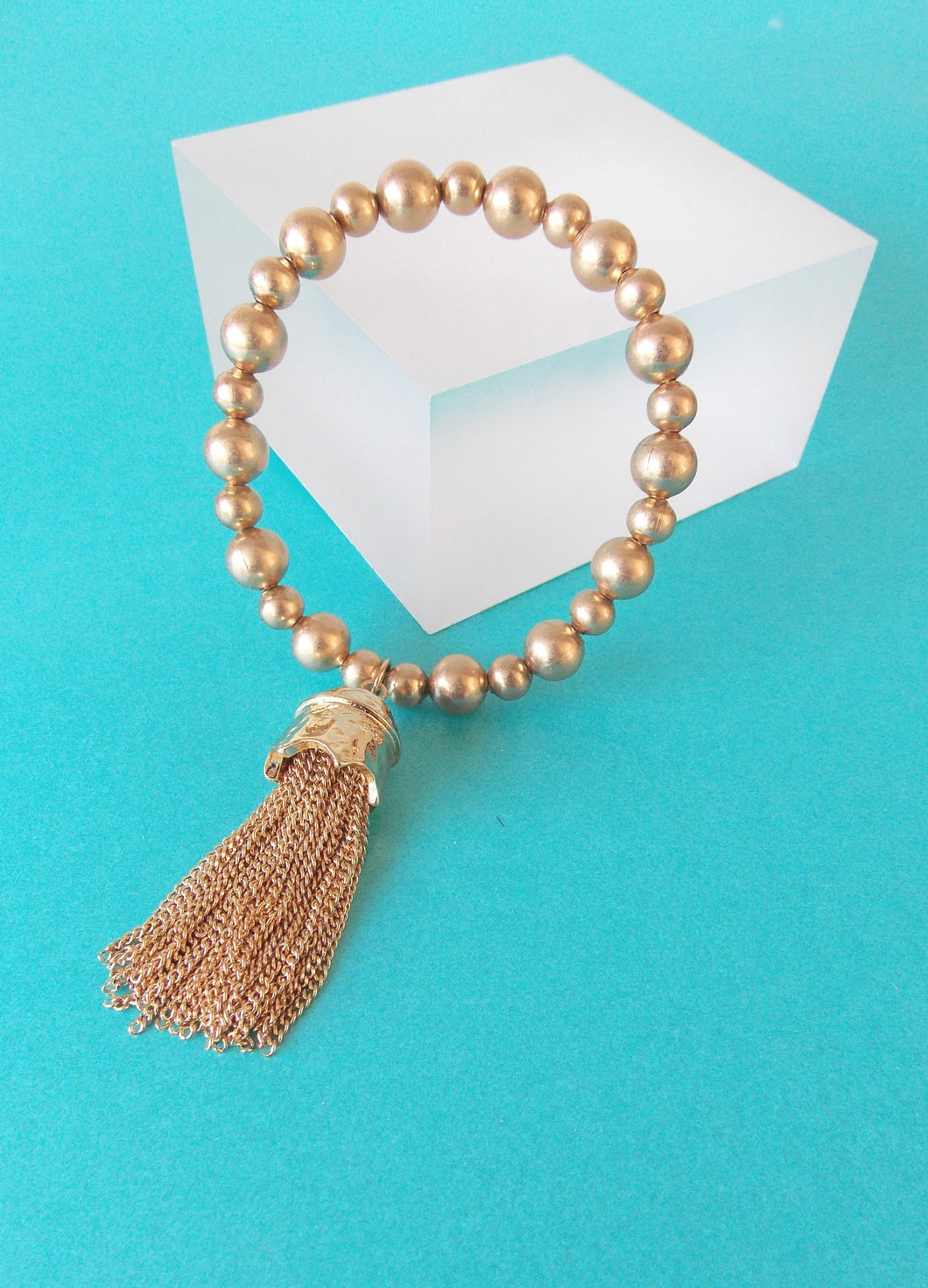 Gold Stretch Tassel Bracelet
